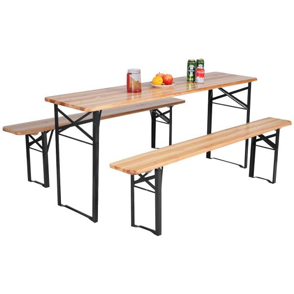 3 Pcs Folding Wooden Picnic Table Bench Set OP2837