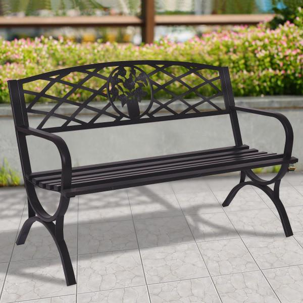 """50"""" Patio Black Decent Garden Bench OP3139"""