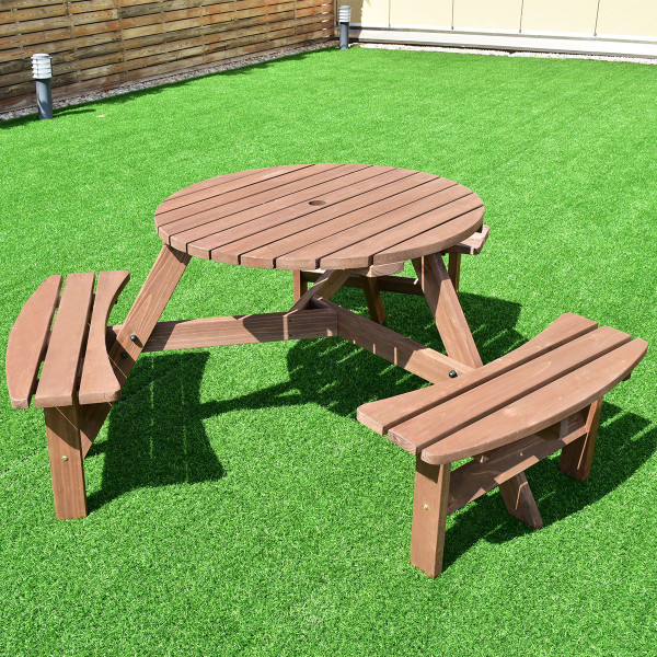 6-Person Patio Wood Picnic Table Beer Bench Set OP3291