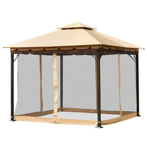 2-Tier 10' X 10' Patio Shelter Awning Steel Gazebo Canopy OP3347