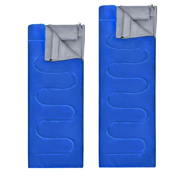 2 Person Waterproof Sleeping Bag With 2 Pillows-Blue OP3650LS