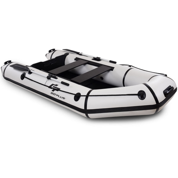 Goplus 4-Person 10 Ft Inflatable Dinghy Boat For Rafting Water Sports-Gray OP3697GR
