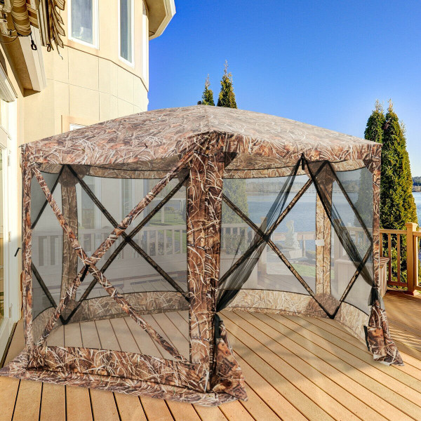 Portable Pop Up 6 Sided Canopy Instant Gazebo Screen Tent-Camouflage OP3869AU