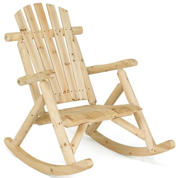 Wood Single Porch Rocker Lounge Patio Rocking Chair OP3890
