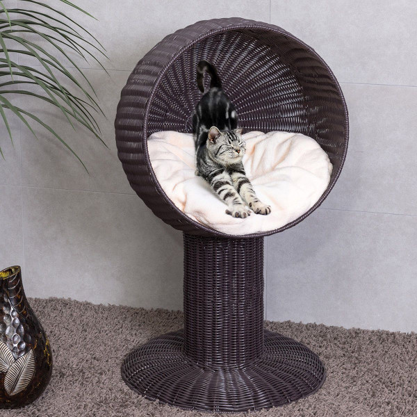 "17"" Ball Hooded Rattan Cat Bed With Cushion PS6890"