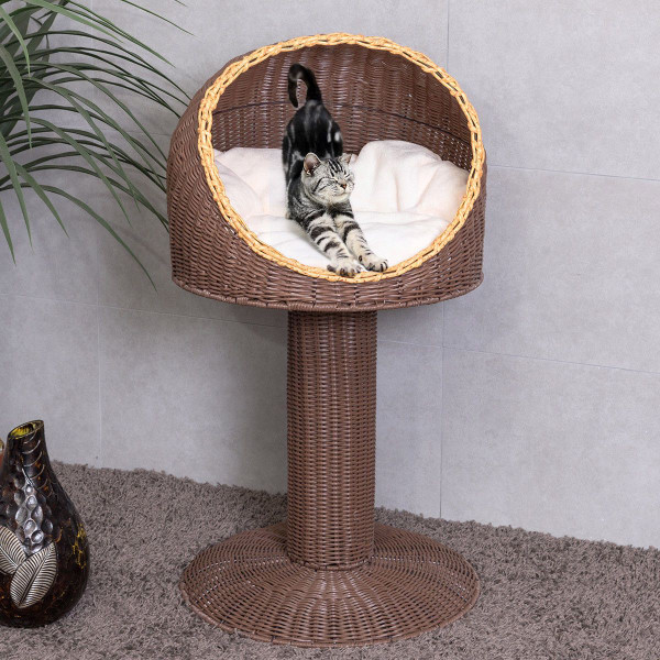 """17"""" Brown Elevated Rattan Cat Bed With Cushion PS6891"""