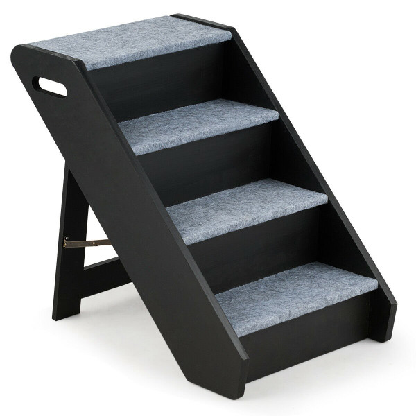 4-Step Wooden Ramp Carpeted Pet Stairs With Handle PS7229