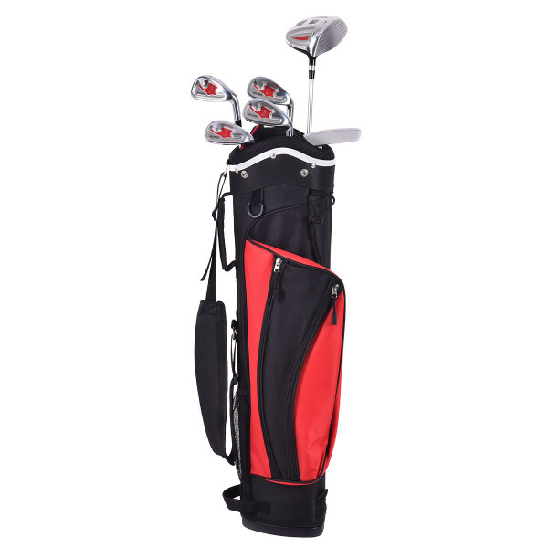 6 Pcs Kids Wood Iron Putter Golf Club Set W/ Stand Bag-Red SP35328RE