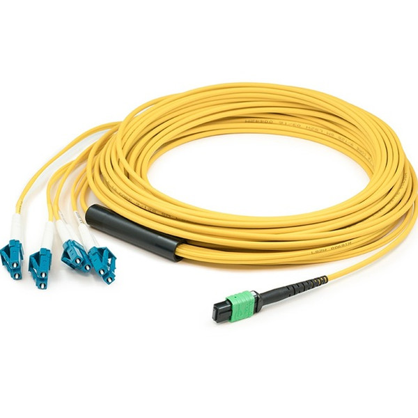 0.5M Mpo (Female) To 8Xlc (Male) 8-Strand Yellow Os1 Fiber Fanout Cable By Addon