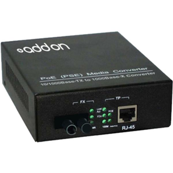 10/100/1000Base-Tx(Rj-45) To 1000Base-Bxu(St) Bidi Smf 1310Nm/1550Nm 20Km Poe Media Converter By Addon