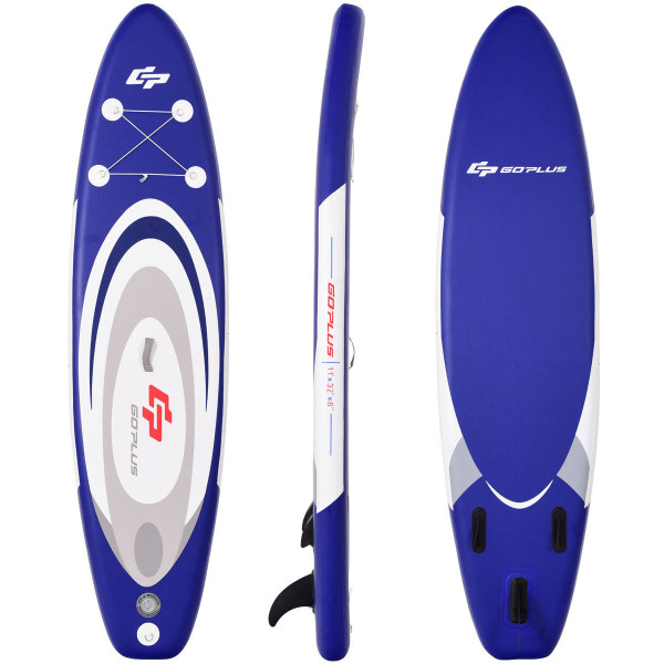 11' Adjustable Inflatable Stand Up Paddle Sup Surfboard With Bag SP36339