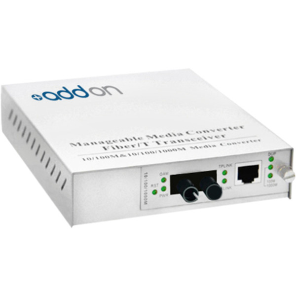 10/100/1000Base-Tx(Rj-45) To 1000Base-Lx(St) Smf 1310Nm 20Km Managed Media Converter By Addon