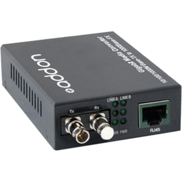 10/100/1000Base-Tx(Rj-45) To 1000Base-Bxu(St) Bidi Smf 1310Nm/1550Nm 20Km Media Converter By Addon