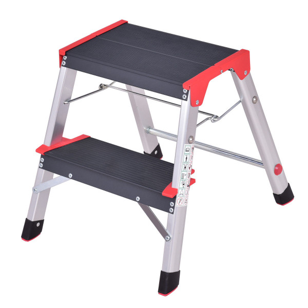 2 Step Aluminum Ladder Folding Non-Slip Platform 330Lbs Load TL33006