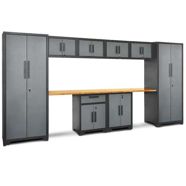 10 Pcs Garage Storage Cabinet Set With Bamboo Worktop TL35122+