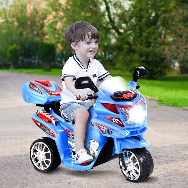 20-Day Presell 3 Wheel Kids Ride On Motorcycle 6V Battery Powered Electric Toy Power Bicyle New-Blue TY207615BL
