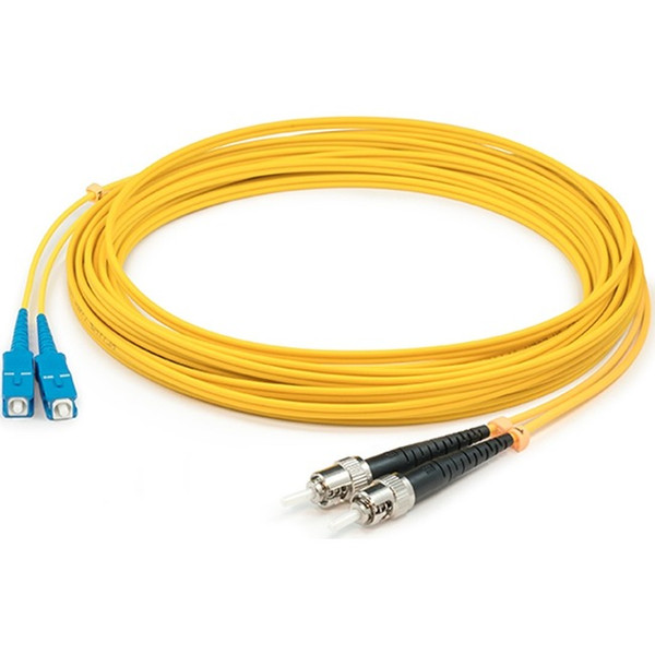 0.5M St (Male) To St (Male) Yellow Os1 Duplex Fiber Ofnr (Riser-Rated) Patch Cable By Addon