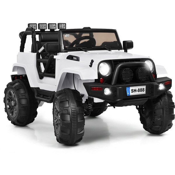 12V Kids Remote Control Riding Truck Car With Led Lights-White TY325957WH+