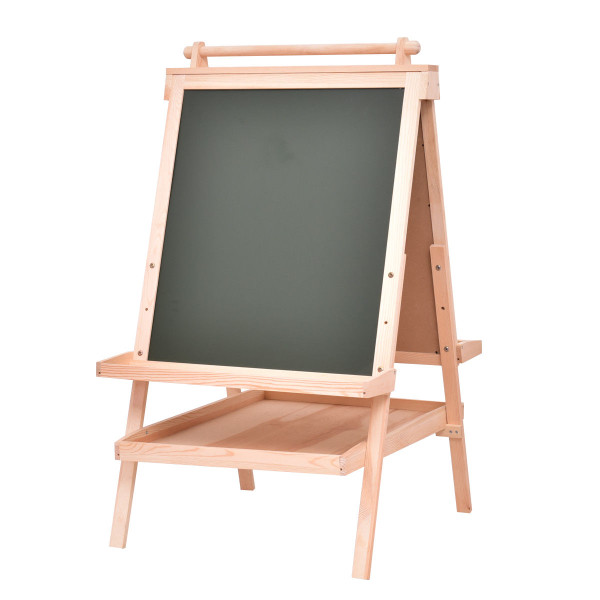 All In One Kid'S Double Side Wooden Art Easel With Paper Roll TY570693