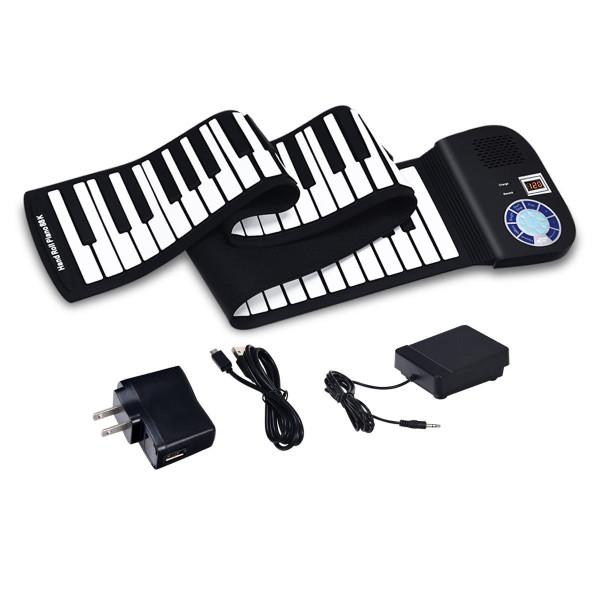 88 Keys Midi Electronic Roll Up Piano Silicone Keyboard-Black TY576045BK
