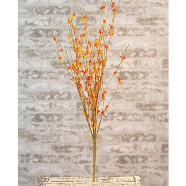 "'+Wispy Orange Buds Flower Bush 21"" FISB73002 By CWI Gifts"