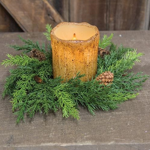 """10"""" Prickly Pine Candle Ring Green (Pack Of 5) FLM3993 By CWI Gifts"""