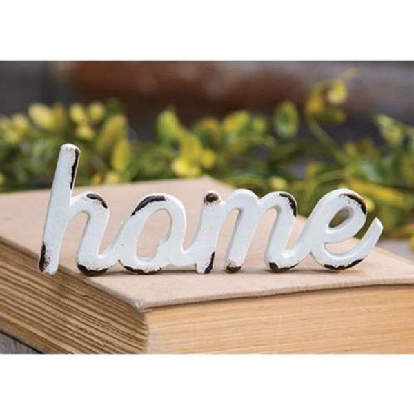 'Home' Distressed White Resin Figurine G13126 By CWI Gifts