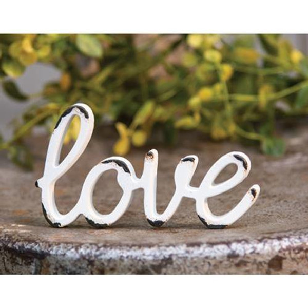 'Love' Distressed White Resin Figurine G13129 By CWI Gifts