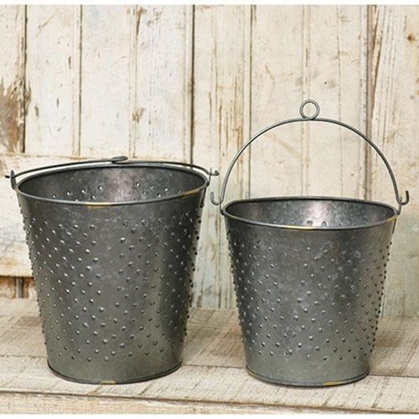 2/Set Galvanized Metal Punched Buckets G13476AB By CWI Gifts