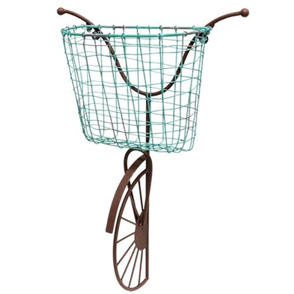 Rusty Wall Bike With Blue Wire Basket G13516 By CWI Gifts