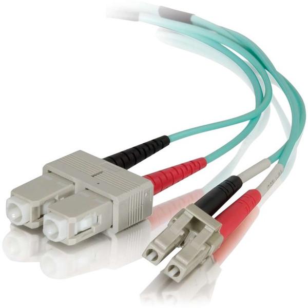 0.5M Lc-Sc 50/125 Duplex Multimode Om4 Fiber Cable - Aqua - 1.64Ft By C2G