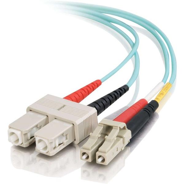 0.5M Lc-Sc 10Gb 50/125 Duplex Multimode Om3 Fiber Cable - Aqua - 1.6Ft By C2G