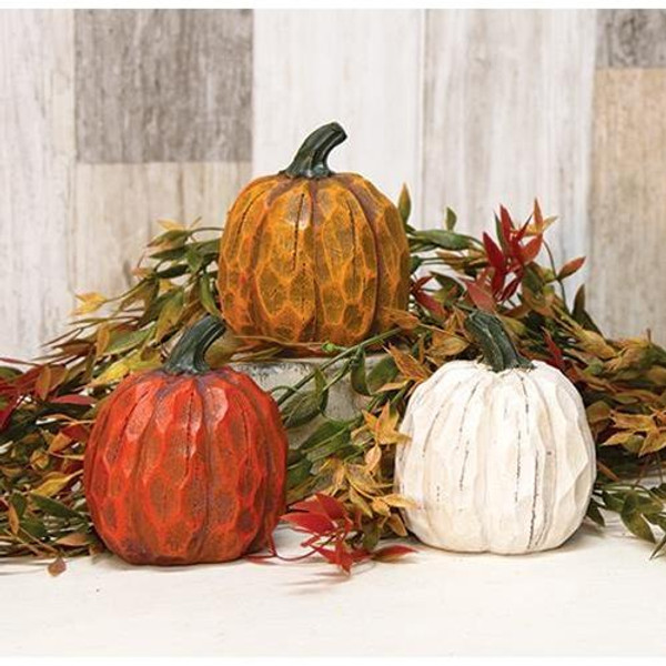 """'+Resin Carved Look Pumpkin 4"""" 3 Asstd. G2213650 By CWI Gifts"""