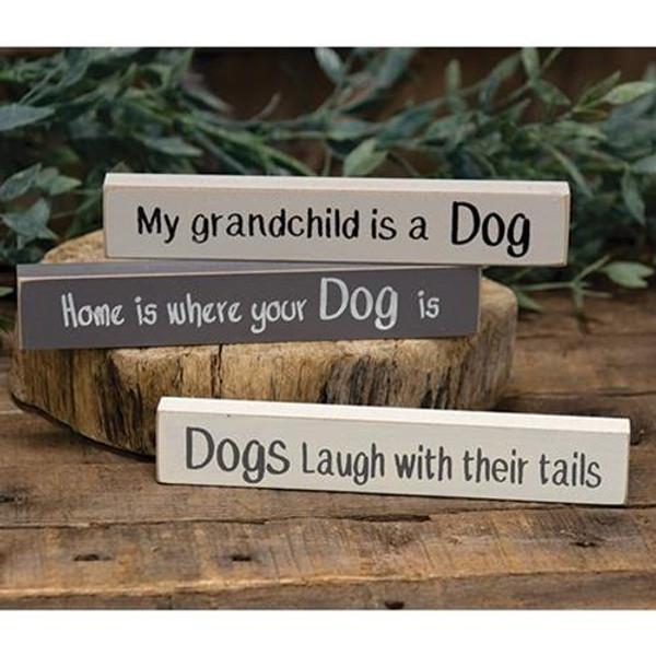 Dog Stoneware Mini Stick 3 Asstd. G34414 By CWI Gifts