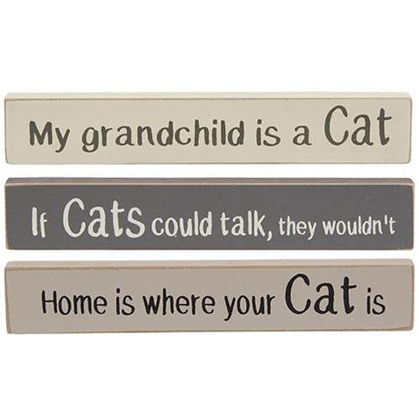 Cats Stoneware Mini Stick 3 Asstd. G34425 By CWI Gifts