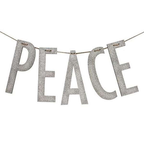 """""""Peace"""" Silver Wood Garland Large G34480 By CWI Gifts"""