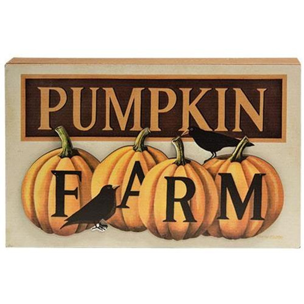 Pumpkin Farm Dimensional Box Sign G34638 By CWI Gifts