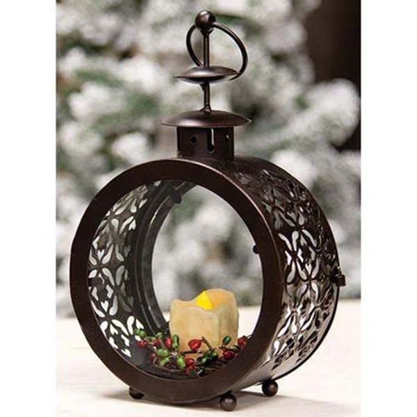 Round Metal & Glass Lantern G5913068 By CWI Gifts