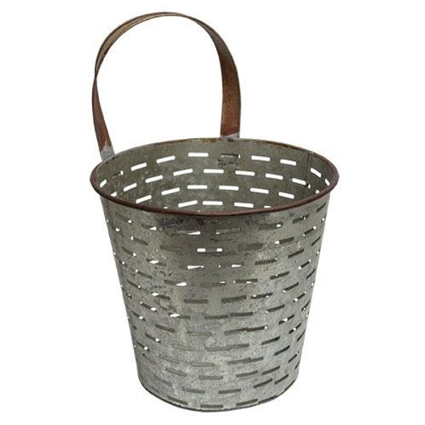 Galvanized Metal Olive Bucket G60227 By CWI Gifts