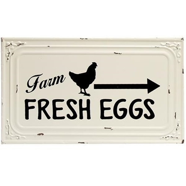 Farm Fresh Eggs Metal Ceiling Tile Sign G65084 By CWI Gifts