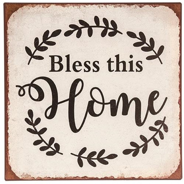 Bless This Home Distressed Metal Sign G65114 By CWI Gifts