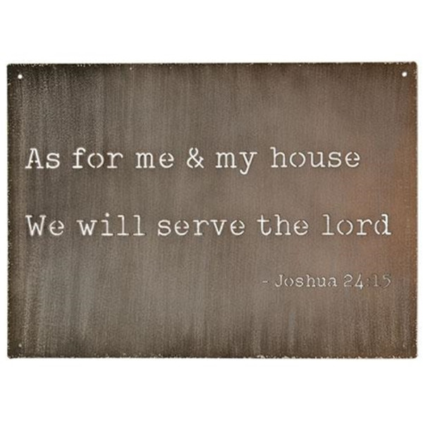 As For Me And My House Cutout Metal Sign G65125 By CWI Gifts
