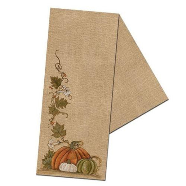 Burlap Runner W/Pumpkins G90056 By CWI Gifts