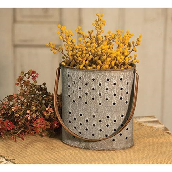 Washed Galvanized Punched Bucket G9885AGB By CWI Gifts