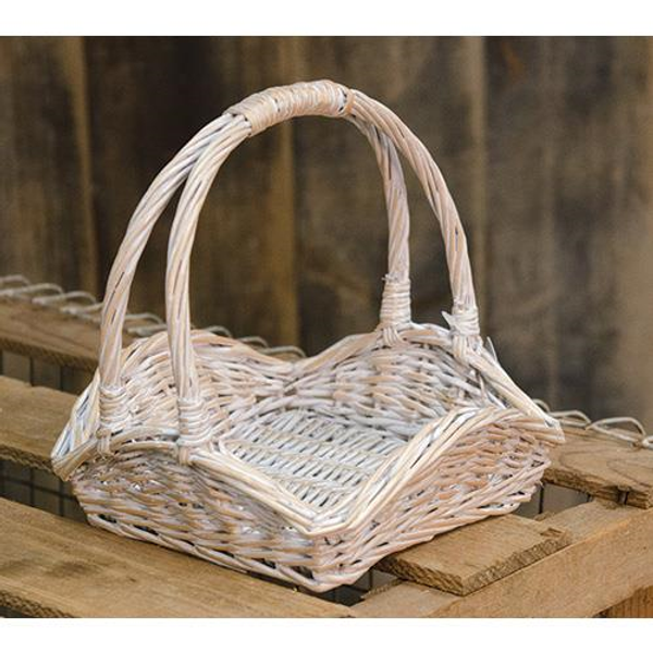 Whitewash Willow Basket GBW9269 By CWI Gifts