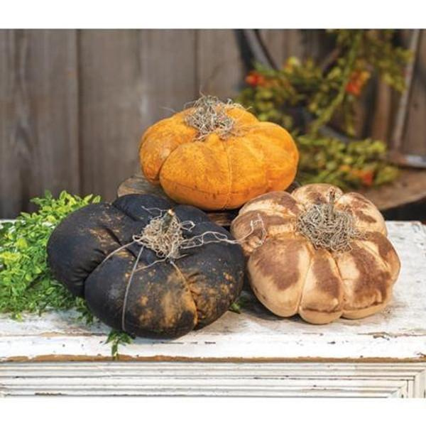 "'+3/Set Stuffed 9"" Pumpkins Orange White Black GG127 By CWI Gifts"
