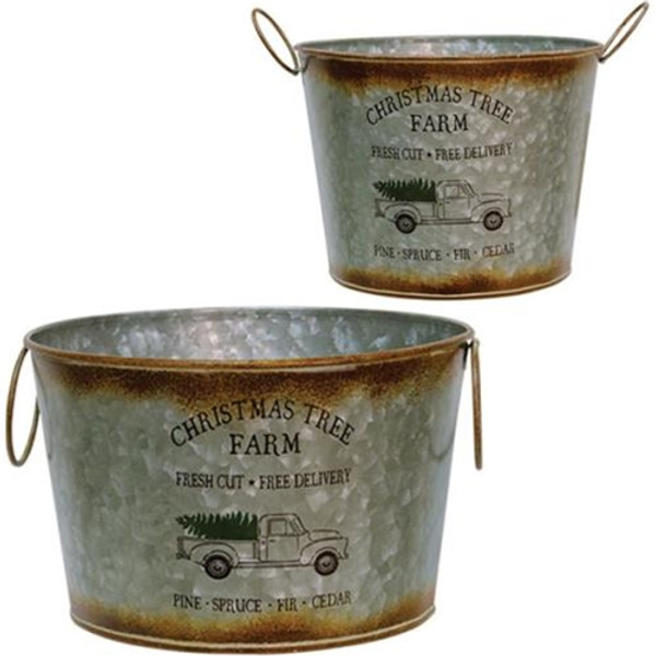 2/Set Christmas Tree Buckets GH17Y12025 By CWI Gifts