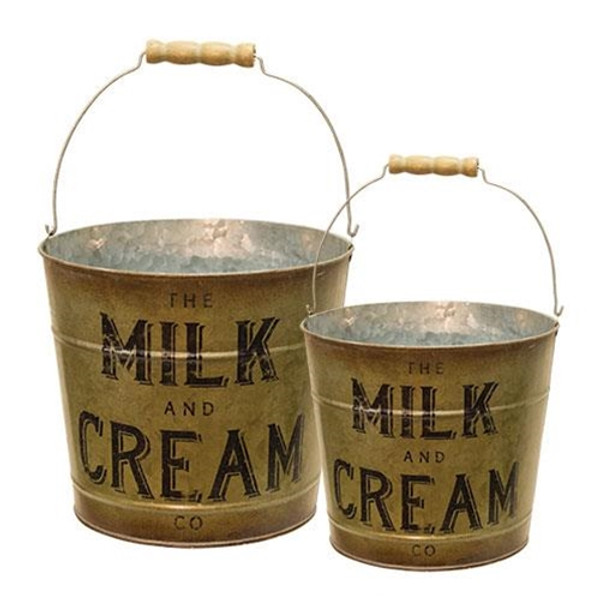 2/Set Milk & Cream Buckets GH17Y3221 By CWI Gifts