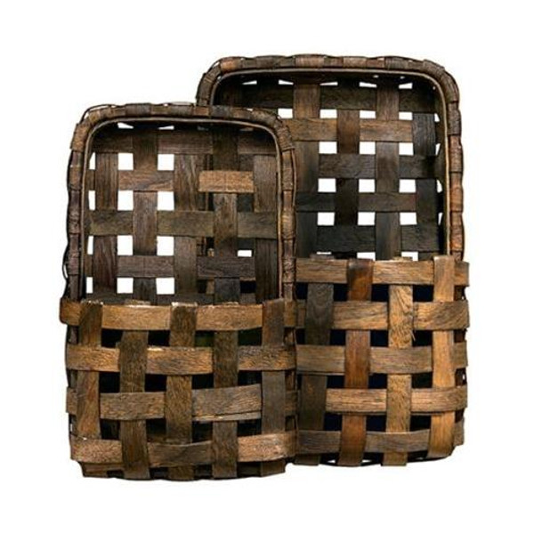 2/Set Brown Tobacco Wall Pocket Baskets GM10217AB By CWI Gifts