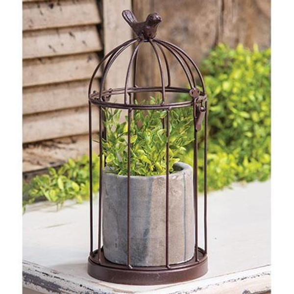 Wire Birdcage With Cement Pot GQX18186 By CWI Gifts
